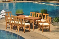 "9pc Grade-A Teak Dining Set 71"" Rectangle Table 8 Osborne Chair Outdoor Patio"