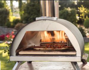 Forno per pizza Bi-Fuel Gas/Legno/Pellet Acciaio Inox Pietra Refrettaria 500°