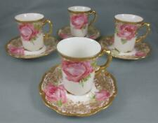 Antique JEAN POUYAT Limoges CHOCOLATE CUP & SAUCER with PINK ROSES Set of 4