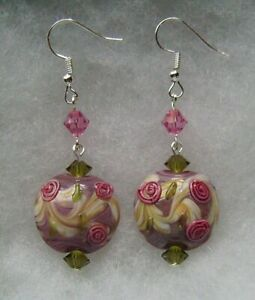 LILAC AND ROSES LAMPWORK GLASS EARRINGS