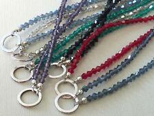 Bicone Glasperlen Halskette Charmkette mit Öse für Anhänger 80 cm 2671