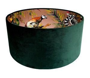 Emerald Green Velvet & Rose Gold Lemur, Gecko Wallpaper Lined Lampshade
