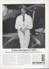 1963 New England Life PRINT AD Insurance Amelia Earhart Putnam