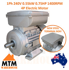Single Phase Electric Motor 240v 0.55 kW 0.75 HP 3/4 HP 1400rpm 4 Pole