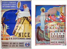 CONGRES EUCHARISTIQUE NICE SENECHAL Pape FAINO Christ Religion 2 Affiches 1940