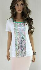 MARCCAIN Camiseta de mujer algodón N5 N6 42 44 XL XXL Lentejuelas Top