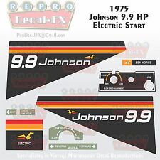 1975 Johnson 9.9 HP Electric Start Outboard Reproduction 9 Pc Marine Vinyl Decal