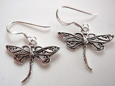 Small Dragonfly Filigree Earrings 925 Sterling Silver Dangle Corona Sun Jewelry