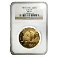 1987 Y 1 oz Chinese Gold Panda 100 Yuan Coin NGC MS 69