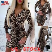 Womens Leopard Print Bodycon Dress Ladies Sexy Club Party Mini Dress Clubwear