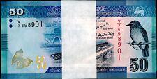 2010 Sri Lanka 50 Rupees Bundle Uncirculated 100 Notes