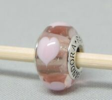 Authentic Pandora Pink Hearts Love Glass Charm/Bead Silver 925 ALE 790660