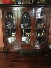antique ball and claw Oak China Closet Cabinet. Handcarved doors and side pillar