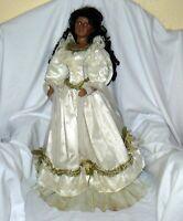 """Big Porcelain Doll Victorian Dress Embellished 29"""" Brown Hair Eyes"""