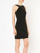 ANTHONY VACCARELLO NOIR $1,885 metal eyelet grommet cut-out mini dress 36-F NEW