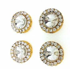 Gold Buttons Pot Metal  Rhinestones Antique Fashion Buttons Sewing Craft by 4 pc