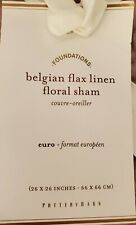 1 Pottery Barn Belgian Flax Linen Floral Stitch Euro Sham Lavender NEW No Tag