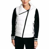 Dkny Womens Sport Asymmetrical-Zip Down-Filled Vest White Size X-Small
