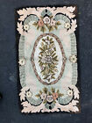 """Vintage Hooked Rug, 58"""" x 33"""", Black Green Pink gold,  Good Condition"""