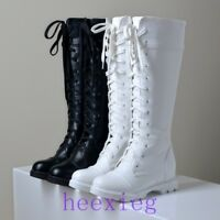 Goth Round Toe Riding Combat Shoes Womens Lace Up Knee High Biker Boots Shoes SZ