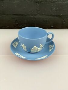 Wedgwood Jasper Ware Blue Tea Cup and Saucer