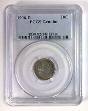 1906-D Barber Dime 10¢ – Toned – PCGS Genuine