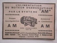 1940 PUB MARTIN MOULET OULLINS POMPE MOTEUR AERONAUTIQUE ORIGINAL AD