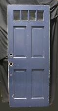 "32""x79"" Vintage Antique Old Solid Wood Wooden Exterior Entry Door 4 Window Glass"