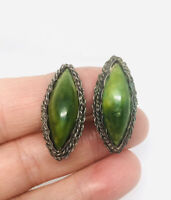 Large Sterling Silver MEXICO Earrings Green Stone Turquoise? Vintage Jewelry