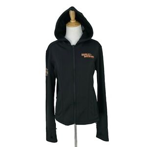 Harley Davidson Hooded Jacket Womens Size L Tall Thumb Holes Inner Riding Fleece