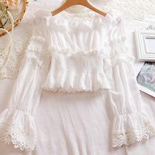 Women Girl Lolita Shirt Blouse Off Shoulder Floral Lace Trim Tops Fairy Classtic