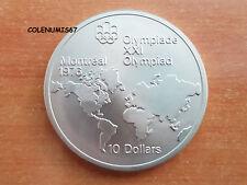 10 DOLLAR CANADA KANADA 1973 - OLIMPIADA MONTREAL 1976 - MAPA - PESO 48 GRAMOS
