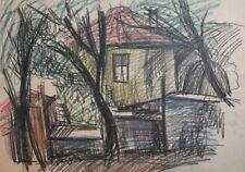 VINTAGE PASTEL DRAWING LANDSCAPE HOUSE