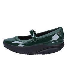 scarpe donna MBT 37 ballerine verde pelle vernice AC277-B