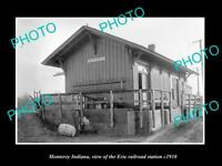 OLD LARGE HISTORIC PHOTO OF MONTEREY INDIANA, ERIE RAILROAD STATION c1910 3