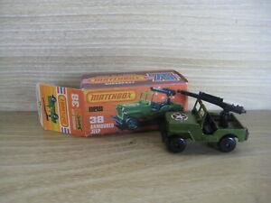 MATCHBOX SUPERFAST (69-83) MB38C  JEEP  Military Green With Gun Star Label