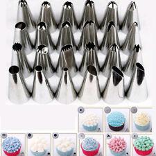 24Pcs Sugarcraft Icing Piping Nozzles Tips Pastry Cake Cupcake Decor Bake Tools