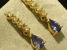 E038- Beautiful 9K Solid Gold NATURAL Diamond & Tanzanite DROP Earrings Studs