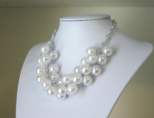 Chunky White Pearl Statement Necklace Womens Jewelry Cluster Big Bead NEW Crew