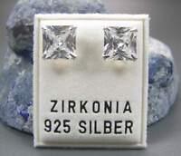 NEU 925 Silber OHRSTECKER 8mm ZIRKONIA STEINE crystal/kristallklar/klar OHRRINGE