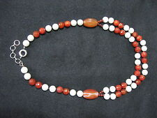 Red Carnelian & Glass Pearls Necklace Hand Knotted Two Strand