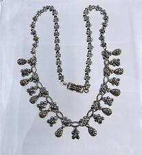 Vintage Paved Marcasite Sterling Silver Necklace