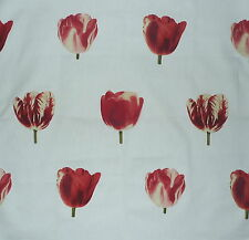 ANDREW MARTIN Semper Floral Tulips Red White Printed Cotton  England Remnant New