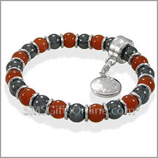 Magnetic Hematite Silver Tone with Red Agate Charm Bracelet / Bangle