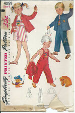 S 4059 sewing pattern 50's OVERALLS JACKET PLAYSUIT sew Pup Cowboy Pony TRANSFER