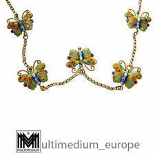 Schmetterling Emaille Silber Collier silver butterfly enamel necklace 🌺🌺🌺🌺🌺