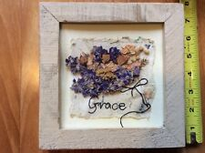 GRACE Hand made Hanging Plaque Pressed Herbs Wildflowers Plaque Weathered Frame