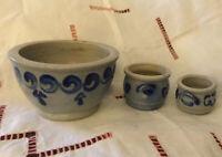 Small French stoneware crock Set Alsace Salt glaze Pot Cobalt Blue Grey Vintage