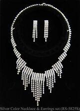 1b8598b4e658 De Mujer Cristal Brillante Collar y Pendientes Chapado Conjunto Joyas para  Novia