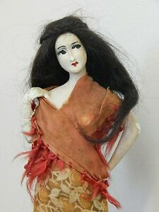 """Antique/Art Deco 9"""" Chalkware/Painted Plaster Lady Doll w/Mohair Wig"""